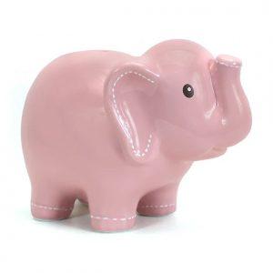 Large Stitched Elephant Bank Pink
